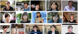 Ewa Stankiewicz błaźni się jako dziennikarka przy Profesorze Wolniewiczu.